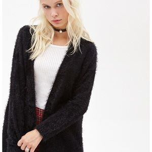 Forever 21 Black Furry Cardigan